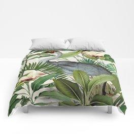 Tropical Heron Bird Rainforest Illustration Comforters