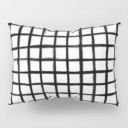 Strokes Grid - Black on Off White Pillow Sham