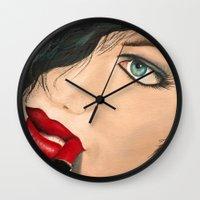 lip Wall Clocks featuring Lip Stick by Stews-Art
