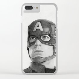 Portrait Drawing of Capt. America Clear iPhone Case