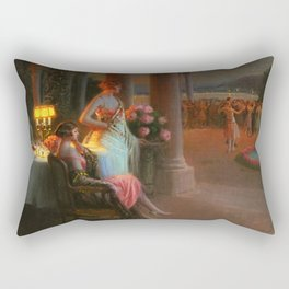 Classical Masterpiece 'Evening on the Terrace' by Delphin Enjolras Rectangular Pillow