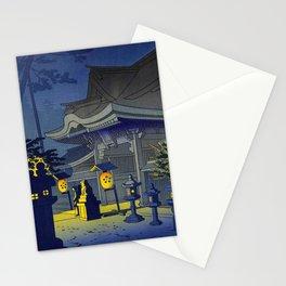 Japanese Woodblock Print Vintage Asian Art Colorful Woodblock Prints Shrine At Night Lantern Stationery Cards