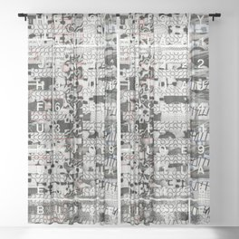 Crossing the Threshold of Sticky Potential (P/D3 Glitch Collage Studies) Sheer Curtain