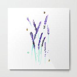 Lavender & Bees Metal Print