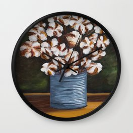 Bouquet of cotton in tin can Wall Clock