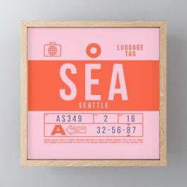 Luggage Tag B - SEA Seattle Tacoma USA Framed Mini Art Print
