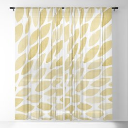 Watercolor brush strokes burst - yellow Sheer Curtain