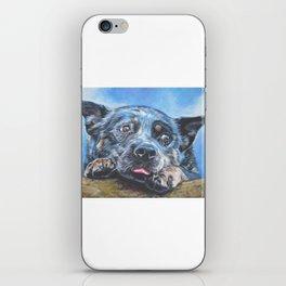Australian Cattle Dog portrait by L.A.Shepard fine art painting blue heeler iPhone Skin
