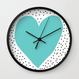 Turquoise heart with grey dots around Wall Clock