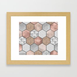 Marble hexagons and rose gold on black Framed Art Print