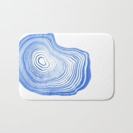 Ryu - spilled ink indigo watercolor painting abstract art marble swirl ocean wave marbled pattern  Bath Mat