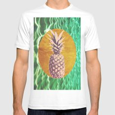 Gold / Pineapple White MEDIUM Mens Fitted Tee