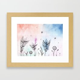 Ink and Watercolor Tribal Flowers Framed Art Print
