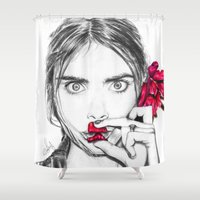 cara Shower Curtains featuring CARA  by Roxanne Jade Dentry