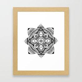 Wild black mandala on white Framed Art Print