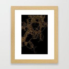Black and gold Busan map Framed Art Print