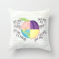 peach Throw Pillows featuring Peach by Larissa