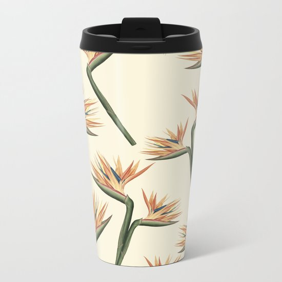 Birds of Paradise Flowers Metal Travel Mug