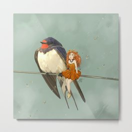 Molly, Flower fairy and Hirondelle, her Swallow friend Metal Print