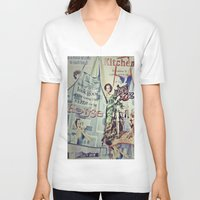 cooking V-neck T-shirts featuring COOKING by Gabriella Vaghini