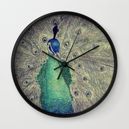 Eyes of the Peacock Wall Clock