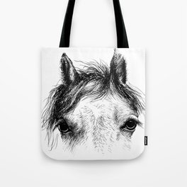 Horse animal head eyes ink drawing illustration. Mammal face portrait Tote Bag