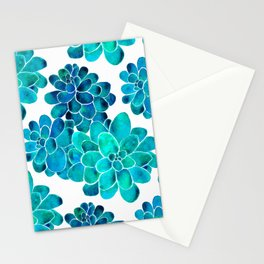 Turquoise succulents Stationery Cards