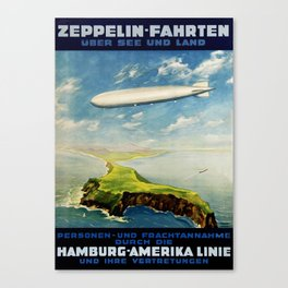 Vintage Airship Travel Poster - Design 1 Canvas Print