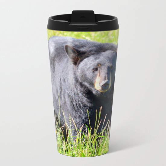 Alaskan Black Bear II Metal Travel Mug