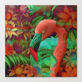 """Tropical Floral Retro Flamenco"" Canvas Print"