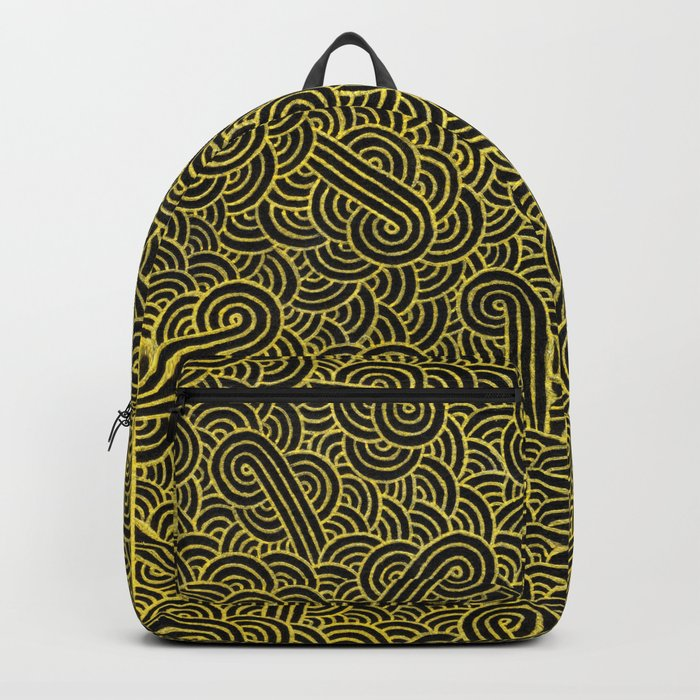Black and faux gold swirls doodles Backpack