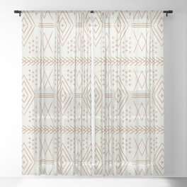 vintage moroccan - bone and maple Sheer Curtain