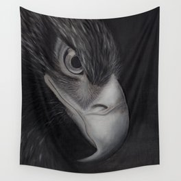 'GAZE' - Wedge Tail Eagle, original artwork in Charcoal & Pastel Wall Tapestry