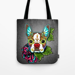 Boston Terrier in Red - Day of the Dead Sugar Skull Dog Tote Bag