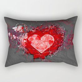 Abstract Love Letter red Grey Crumpled Paper Rectangular Pillow