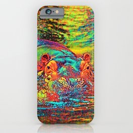 AnimalColor_Hippo_003_by_JAMColors iPhone Case