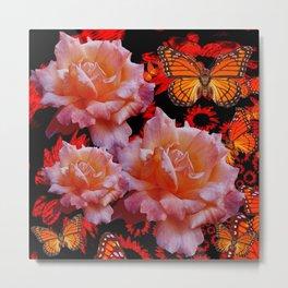 Three Antique Pinkish Roses Monarch Butterflies Art Metal Print