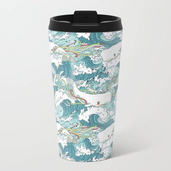 Whales and waves pattern Metal Travel Mug