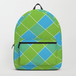 PLAID, NEON BLUE AND LIME GREEN Backpack