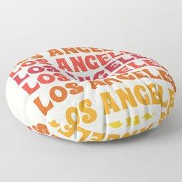 Los Angeles - retro vibes throwback minimal typography 70s colors 1970's LA Floor Pillow