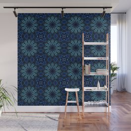 Teal Blue Delicate Electric Flowers Wall Mural