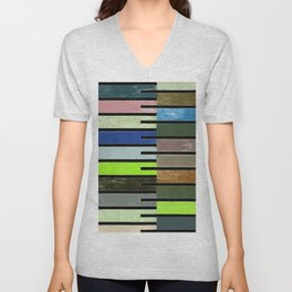 Ladder Color Blocks Complimenting Coral Unisex V-Neck