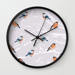 Bull Finches Winter Wall Clock