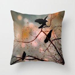 Rainy Day Crows Throw Pillow