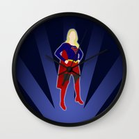 supergirl Wall Clocks featuring Supergirl by livinginamovie