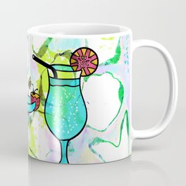 Summer Pool Party Cocktails , Watercolor Painting in Aqua Tequila Sunrise Colors Coffee Mug