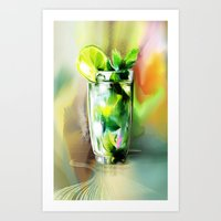 cocktail Art Prints featuring cocktail by tatiana-teni