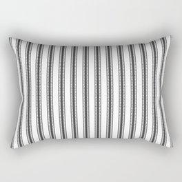 Black and White English Rose Trellis in Mattress Ticking Stripe Rectangular Pillow