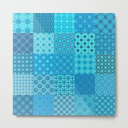 Blue Patchwork Quilt with 25 different tiled patterns Metal Print