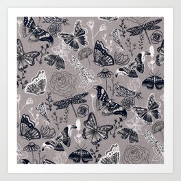 Dragonflies, Butterflies and Moths With Plants on Grey Art Print